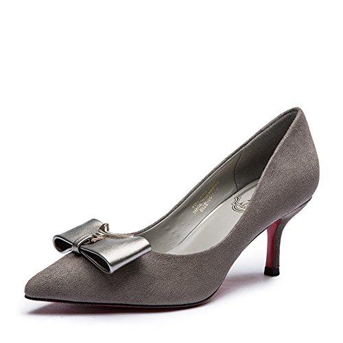 Lady coréen bow chaussures à talon suede/Chaussures pointu talons hauts peu profonde