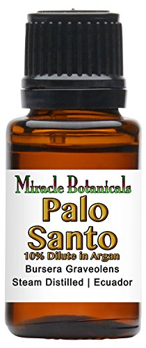 Miracle Botanicals Palo Santo Essential Oil 10% Dilute in Argan - Therapeutic Grade Bursera Graveolens (10%) in Virgin Organic Argan (90%) - 15ml