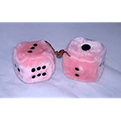 Buy 3 Inch Fuzzy Furry Dice Pink With Black Dots by TheCyberMartStore