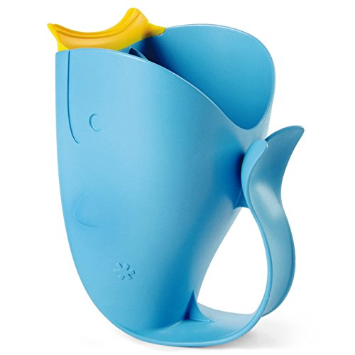 Skip Hop Baby Infant and Toddler Moby Tear-Free Waterfall Bath Rinser Cup with Rubber Lip & Handle, Blue