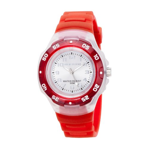 Timex Sport Marathon Midsize Jelly Watch Grey Dial Red Resin Strap Watch - T5K3694E