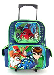 New Ben 10 Rolling Backpack Bonus Wallet and Pack of pencils