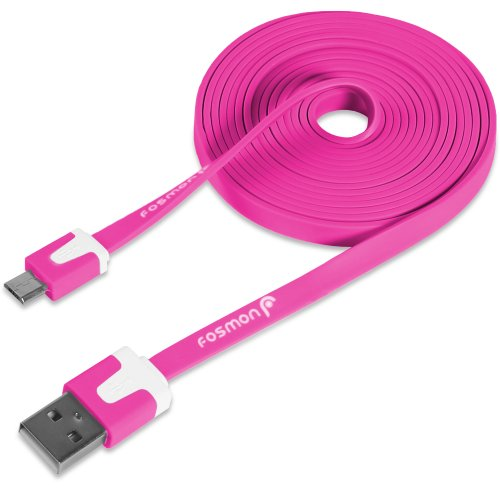 Fosmon Vivid Series Flat Tangle Free Micro USB Cable for Smartphones and Other Micro USB Devices (6 Feet, Hot Pink)