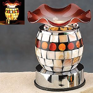 """Electric Essential Oils Fragrance Oils Diffuser Burner W/ Free One Bottle(1/2 Fl.Oz) Random Fragrance Oil-Shell Pattern, Red Design And Gorgeous Waterwave Glass Top,35 Watt Halogen Bulb With Touch Dimmer Switch , 5"""" H, The Most High-End Quality In The Mar"""