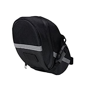 BOGZON Waterproof Mountain Bicycle Rear Seat Pack, Bike Saddle Bag / Handlebar Bag / Strap-on Bag / Toolkit, Black