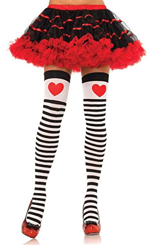 Striped Thigh Highs with Red Hearts 6008