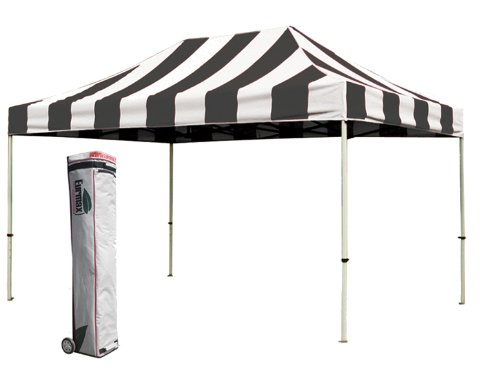 Eurmax Premium 10X15 Pop Up Gazebo Wedding Canopy Party Tent With Roller Bag, Stripe Black front-902802
