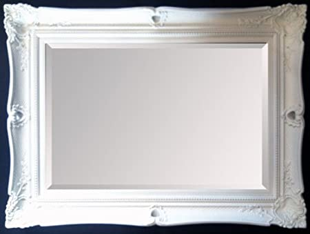 HUGE French White Shabby Chic Decorative Framed BEVELLED Wall / Overmantle Decorative Mirror 50inch x 40inch (127cm x 102cm) Stunning Quality - Ready to Hang - ITV Show Supplier