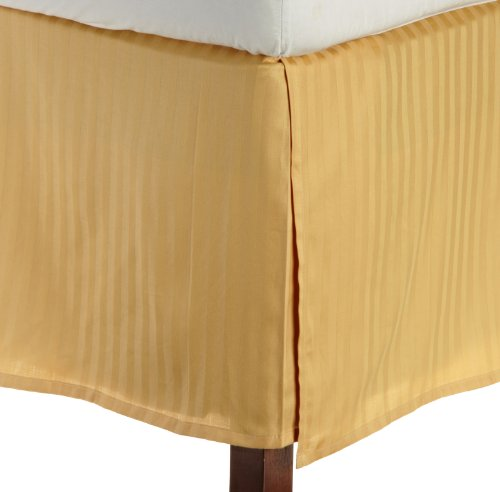Egyptian Cotton 300 Thread Count Queen Bed Skirt Stripe, Gold back-790839