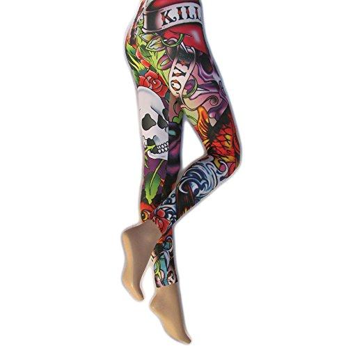 Silky - Leggings fantasia Old School - Donna (1 Paio) (M) (Multicolore)