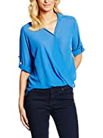 William de Faye Blusa Seda Top Faux Cache Cœur (Azul)