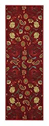 Custom Size RED Floral Rubber Backed Non-Slip Hallway Stair Runner Rug Carpet 22 inch Wide Choose Your Length 22in X 8ft