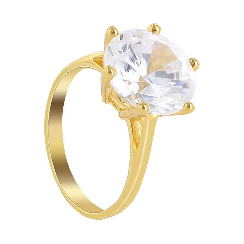 Gold Plated Brass Round Shape Clear 11mm CZ with 6 Prong Setting Solitaire 3mm Band Polished Finish Ring Size 7