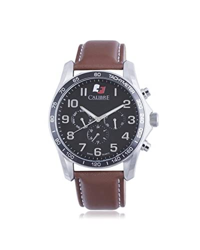 Calibre Men's SC-4B1-04-007.1 Buffalo Round Stainless Steel 24-Hour Day Date Leather Band Watch