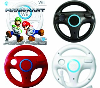 Nintendo Mario Kart with Original Wheel and Extra Red and Black Wheels for Wii