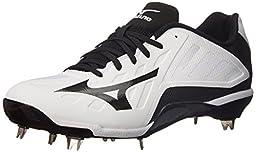 Mizuno Men\'s Heist IQ Baseball Cleat, White/Black, 7.5 M US