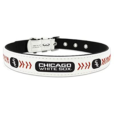 New Pet Products - Chicago White Sox Classic Leather Medium Baseball Collar + Free Gift of Beautiful Pet Charm (random style) promo code 2015