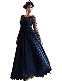 Navy Blue Colour Bhagalpuri Silk Embroidered Party Wear Semi Stitched Gown