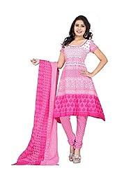 Kesar Sarees Fancy Printed Pink Cotton Dress Material