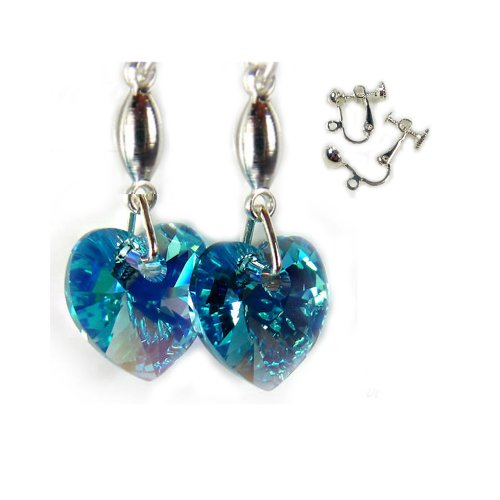Aquamarine Blue AB Crystal Heart Earrings with Clip on Fittings made with Swarovski Elements by DIOSA Jewellery