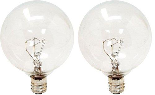 GE Lighting 17730 40-Watt Candelabra G16.5 Globe Bulbs, Crystal Clear, 2-Pack (40 Watt Candelabra Bulbs compare prices)