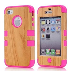 SHHR Hard Wood+Silicone Design Hybrid case for Apple iPhone4 4s 4G-Hot Pink Color from SHHR