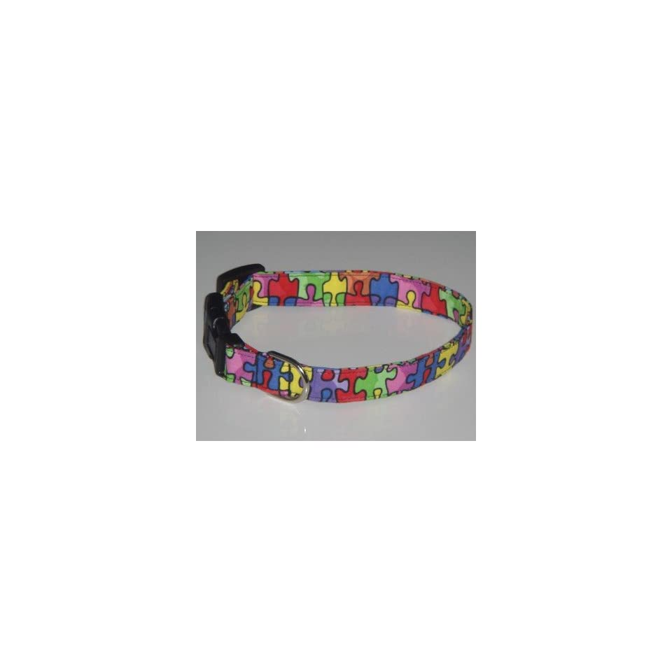 Autism Awareness Puzzle Pieces Style 1 Dog Collar Small 3