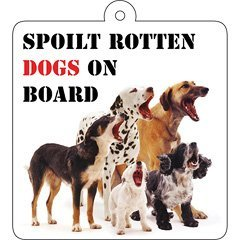 Spoilt rotten dogs on board-plaque avec ventouse-car wobbler /