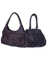 Arc HnH Women Combo Handbag Pretty Black + Magnificent Dark Brown