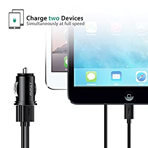 AUKEY Car Charger, Flush Fit Dual Port 4.8A Output for iPhone X / 8 / 7 / Plus, iPad Pro / Air 2 / mini, Samsung Galaxy Note8 / S8 / S8+ and More - Black (Color: Black)