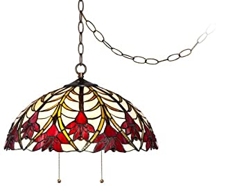 "Tiffany Style Ruby Flora 19"" Wide Swag Pendant Light"