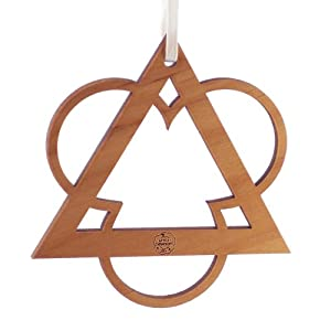 "Advent Ornaments ""TRIANGLE and TREFOIL"", Laser Cut and Engraved Wood Christmas Tree Ornament, Alder"