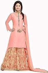 Sargam Fashion Embroidered With Embellished Beige And Light Orange Net Traditional Wedding Wear Lehenga Choli Set. - SRSF145