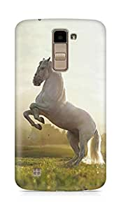 Amez designer printed 3d premium high quality back case cover for LG K10 (Beautiful White Horse)
