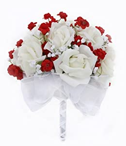Ivory Rose Hand Tied Silk Wedding Bouquet - Red Accents - 1 Dozen Roses - Lesbian Wedding