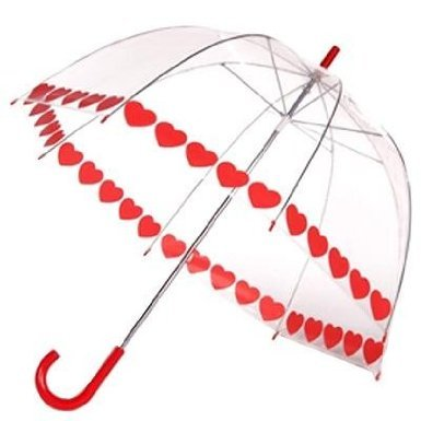 Clear Printed Bubble Umbrella - Heart String