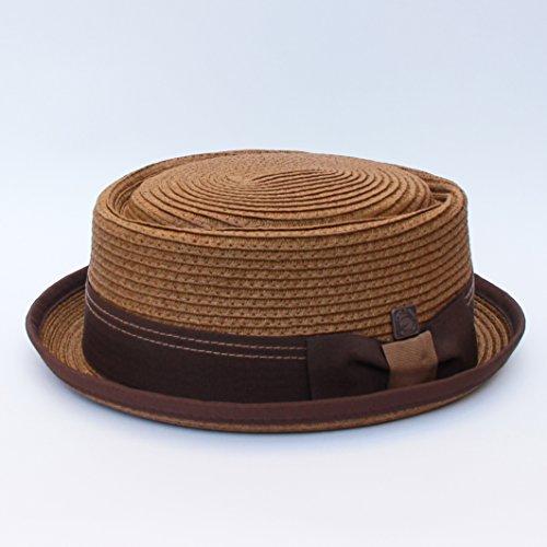 Dasmarca Rico Tobacco Braided Summer Paper Straw Telescope Crown Retro Porkpie Hat - XL