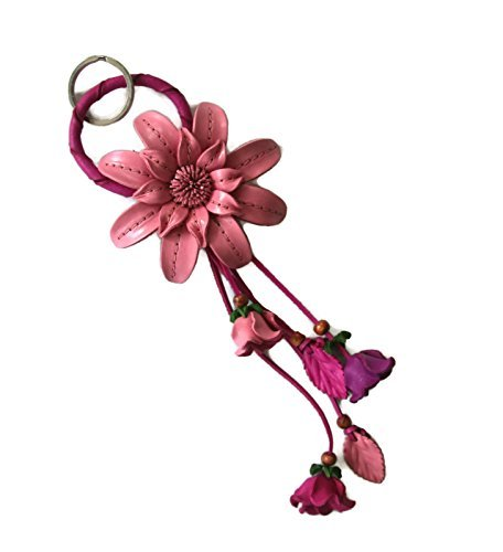 bella-pazzo-pink-handmade-zinnia-flower-leather-keychain-key-ring-clasp-bag-charm-handbag-purse-char