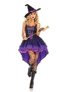 Leg Avenue Women's Broomstick Babe Witch Costume, Purple/Black, Small/Medium