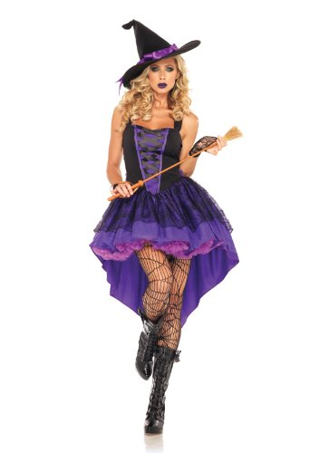 [Leg Avenue Women's Broomstick Babe Witch Costume, Purple/Black, Medium/Large] (Broomstick Babe Halloween Costume)