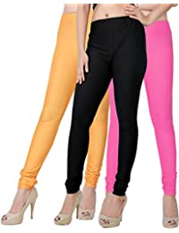 Fashion And Freedom Women's Pack Of 3 Orange,Black And Pink Satin Leggings