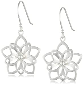 Sterling Silver Open Double Flower Earrings