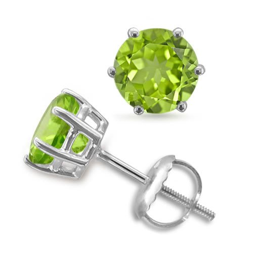 Peridot Stud Earrings 6 Prong Studs in 18k White