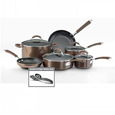 Farberware 10570 12-Piece Set Porcelain Nonstick Cookware, Bronze