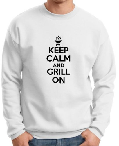 Keep Calm And Grill On Funny Bbqing Premium Crewneck Sweatshirt Small White