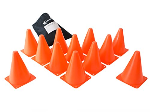 Orange Sports Cones - Set of 12 - Perfect for Exercise Sports and Outdoor Activity - Toy Construction or Traffic Cones - Soft Flexible Cone Design - Shatterproof - 7