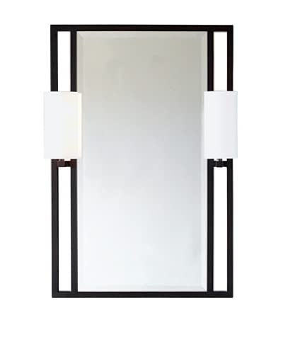 City Scape Douglas Mirror with Sconces, Bronze