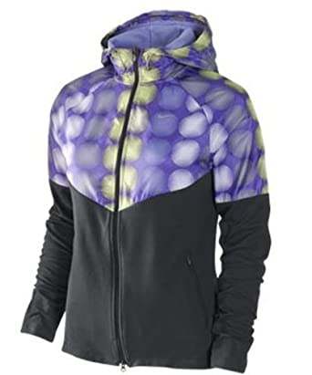 Nike Ladies Fanatic Hoodie Running Dri-Fit Jacket-Purple Dark Gray by Nike