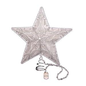 Kurt Adler 10 Light Snowfall 5 Point Silver Wire Star Treetop