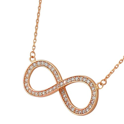 Sterling Silver Rose Gold Plated Infinity Crystals Cz Womens Pendant Necklace With Chain